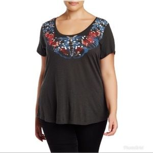 Lucky Brand Painterfly Butterfly Tee Plus Size 2X